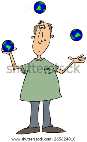Man juggling globes - stock photo