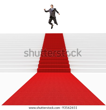 man jump on 3d red carpet