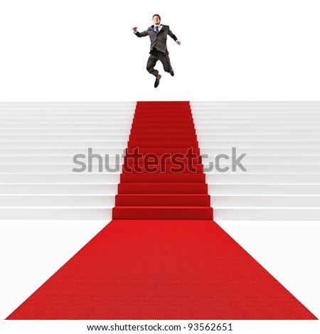 man jump on 3d red carpet - stock photo