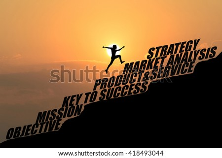 Man jump over business plan text on hill,Business concept idea - stock photo