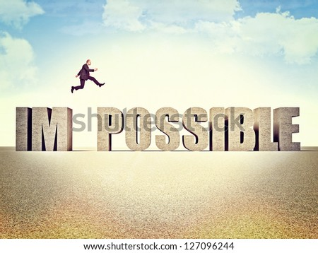 man jump over possible word - stock photo