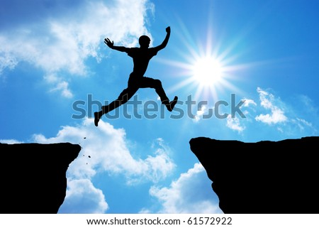 Cliff jumping stock images royalty free images vectors for Jump the gap