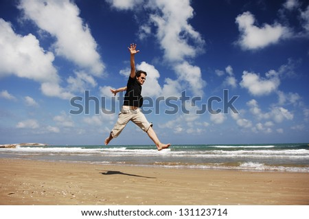 Man Jumping At The Beach Serie