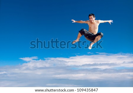 Man jumping on the clouds in the sky background, synthetic images, exaggerated expression.