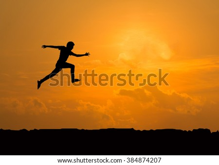 Man jumping silhouette.