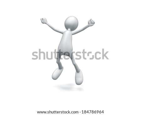 Man jumping with joy on white background.