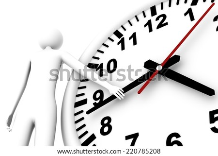 Man keeps hand of the arrow hours this pause or checking of time/Checking of time