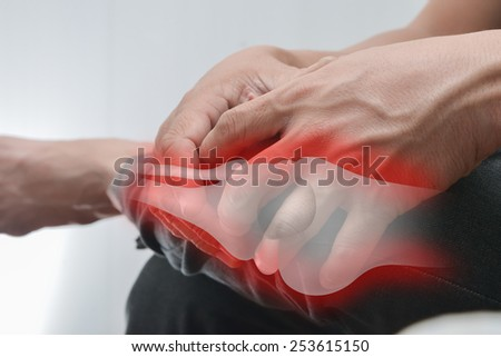 Man Knee pain. - stock photo
