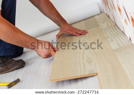 Man Laying Laminate Flooring Home Stock Photo Royalty Free