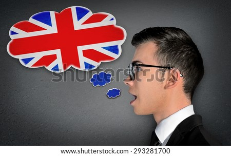 Man learn speaking english in bubble - stock photo