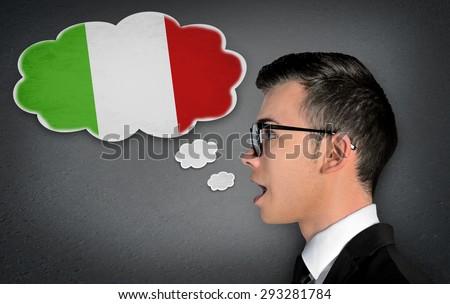 Man learn speaking italian in bubble - stock photo