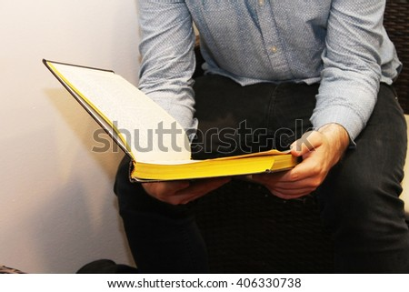 man learning from the jewish holly books (gmarah) - stock photo