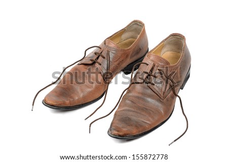 man leather brown shoes on white background - stock photo
