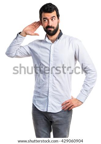 Man listening something - stock photo