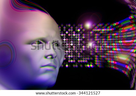 Man listening to music and abstract colorful circles blur. 3d illustration.