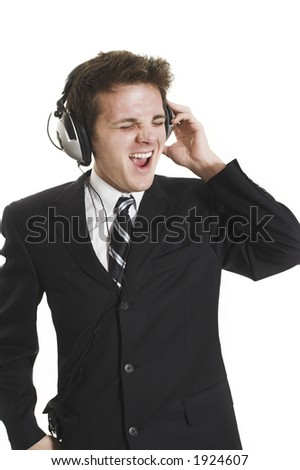 man listening to music over white background