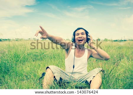 Man Listening To Music Series,Scream For The Nature,Dramatic Look - stock photo