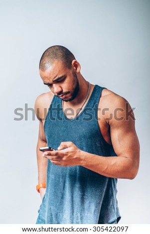 man looking at cell