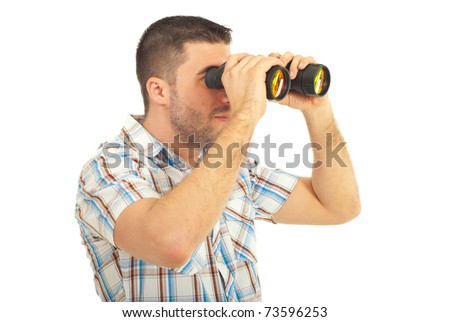 Man looking away through binocular isolated on white background