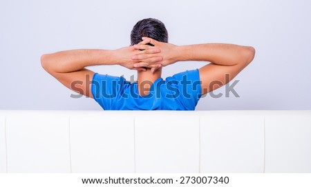 man looking copy space wall - stock photo