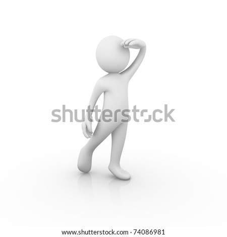 Man looking far way / analyzing / hoping / expecting / waiting - stock photo