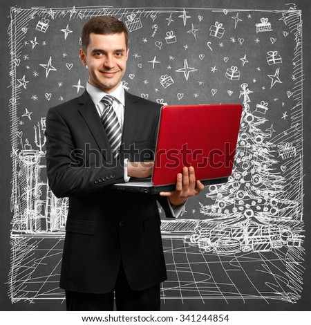 Man looking for Christmas gifts and choosing it - stock photo