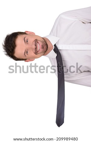 Man looking from the other side, isolated on a white background - stock photo