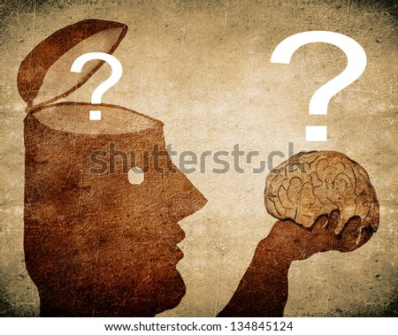 man looking his brain digital illustration - stock photo