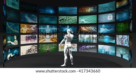 Man Looking into Video Wall Screens in 3D Illustration Render - stock photo