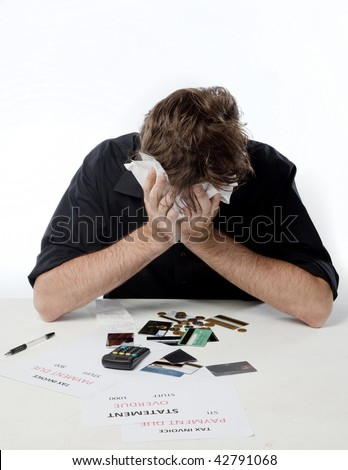Man looking overwhelmed about his financial situation