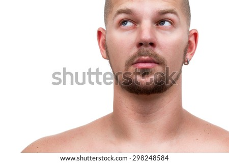 man looking pensively into the corner - stock photo