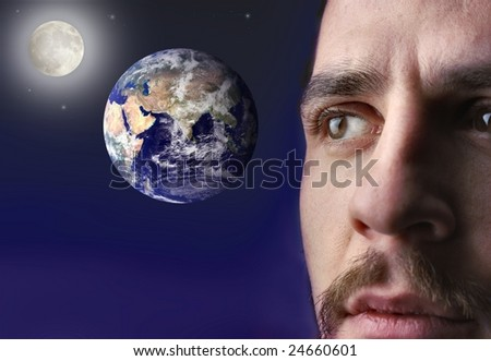 man looking the earth in the space