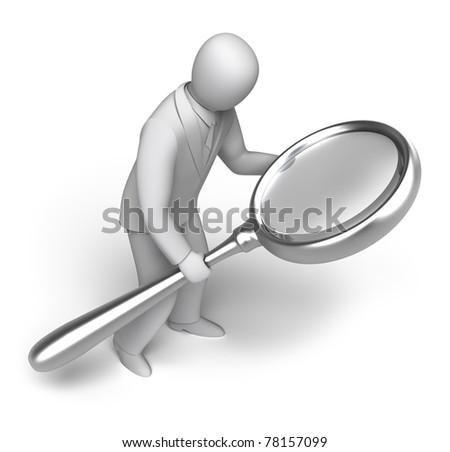 man looking through a magnifying. 3D man concept - stock photo