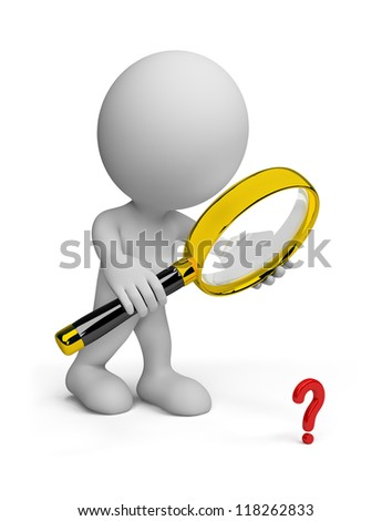Man looking through a magnifying glass on the object. 3d image. Isolated white background.