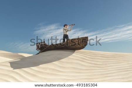 Man looking through a spyglass in a boat on the sand dunes. This is a 3d render illustration