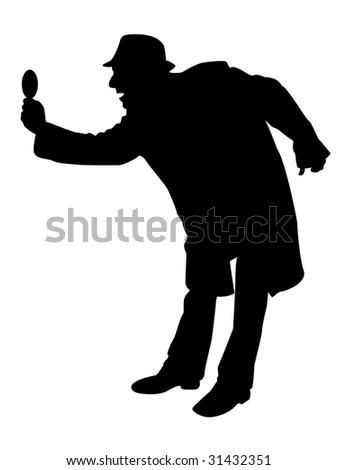 man looking through magnifier on isolated background - stock photo