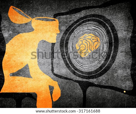 man looking tv washing brain illustration concept - stock photo
