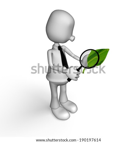 man looks at a plant through magnifier