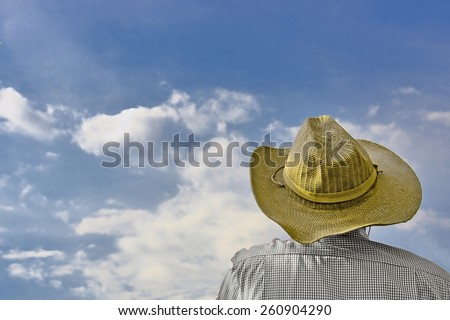 Man looks at sky. - stock photo