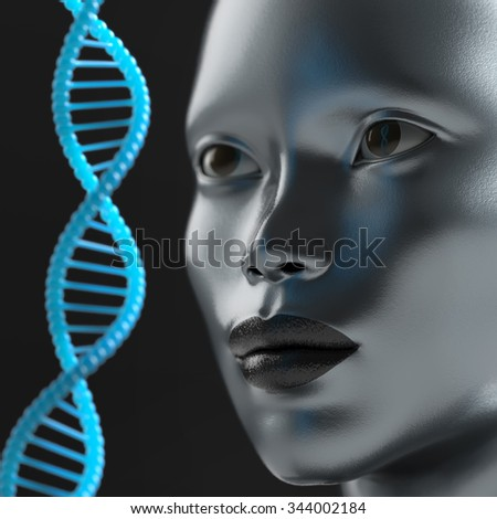man looks at the DNA molecule - stock photo