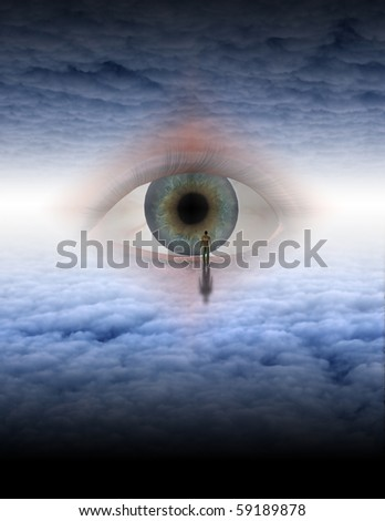 Man looks into eye of god in ethereal space - stock photo