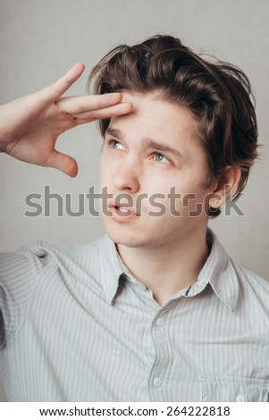 man looks into the distance - stock photo