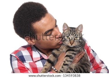 Man loves his cat - stock photo