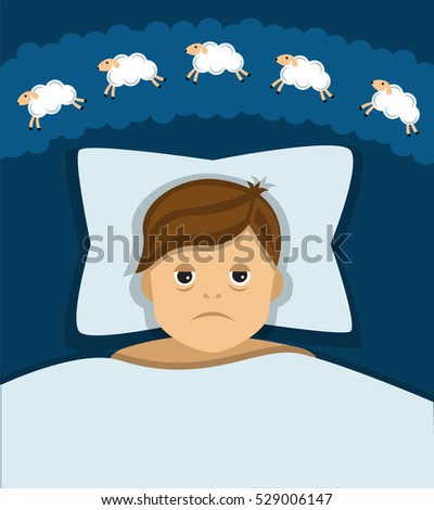 man lying in bed, the man was very tired but can not sleep, and counting sheep