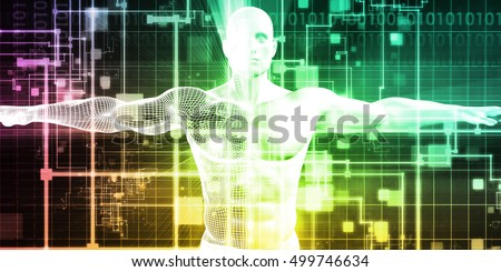 Man Machine Integration Design and Analytics System 3d Illustration Render