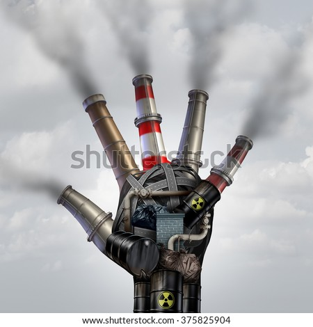 Man made pollution toxic smoke stop symbol as a dirty industrial factory with garbage smoke stacks and a petrochemical refinery plant shaped as a human open hand polluting the environment. - stock photo