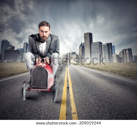 Man makes a driving test for a driver's license - stock photo