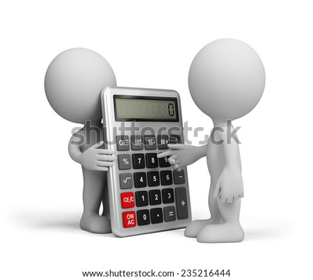 Man makes calculations with a calculator. 3d image. White background. - stock photo