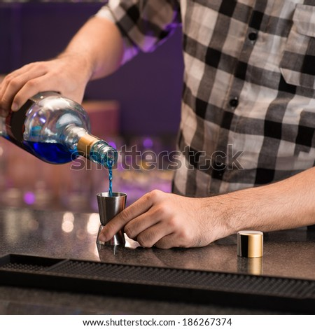 Man making a short in the bar - stock photo