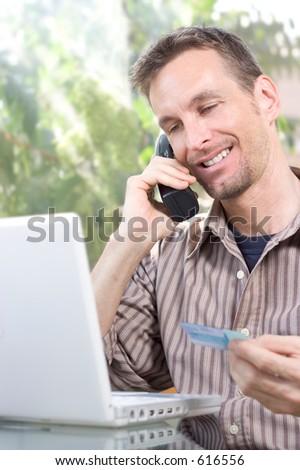 man making an online order - stock photo